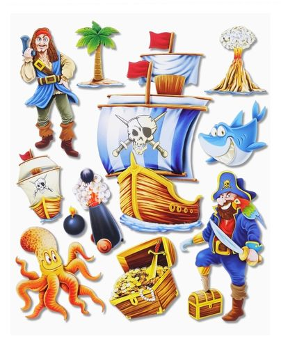 3D Sticker XXL Piraten I 30 x 30 cm