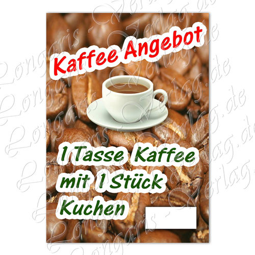 "File Offer Poster ""Coffee and cake"" Text in German"