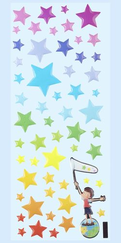 Stars, Glossy Stickers 1 sheet 7 x 16,9 cm