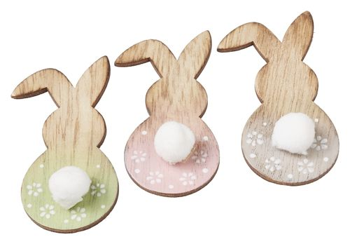 Wooden rabbits 7 cm with glue dot