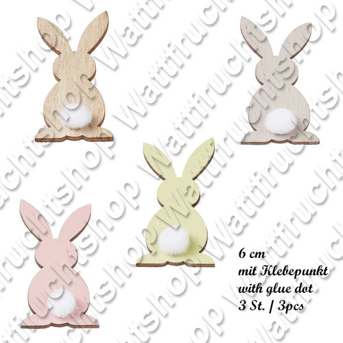 Wooden rabbits 6 cm with glue dot
